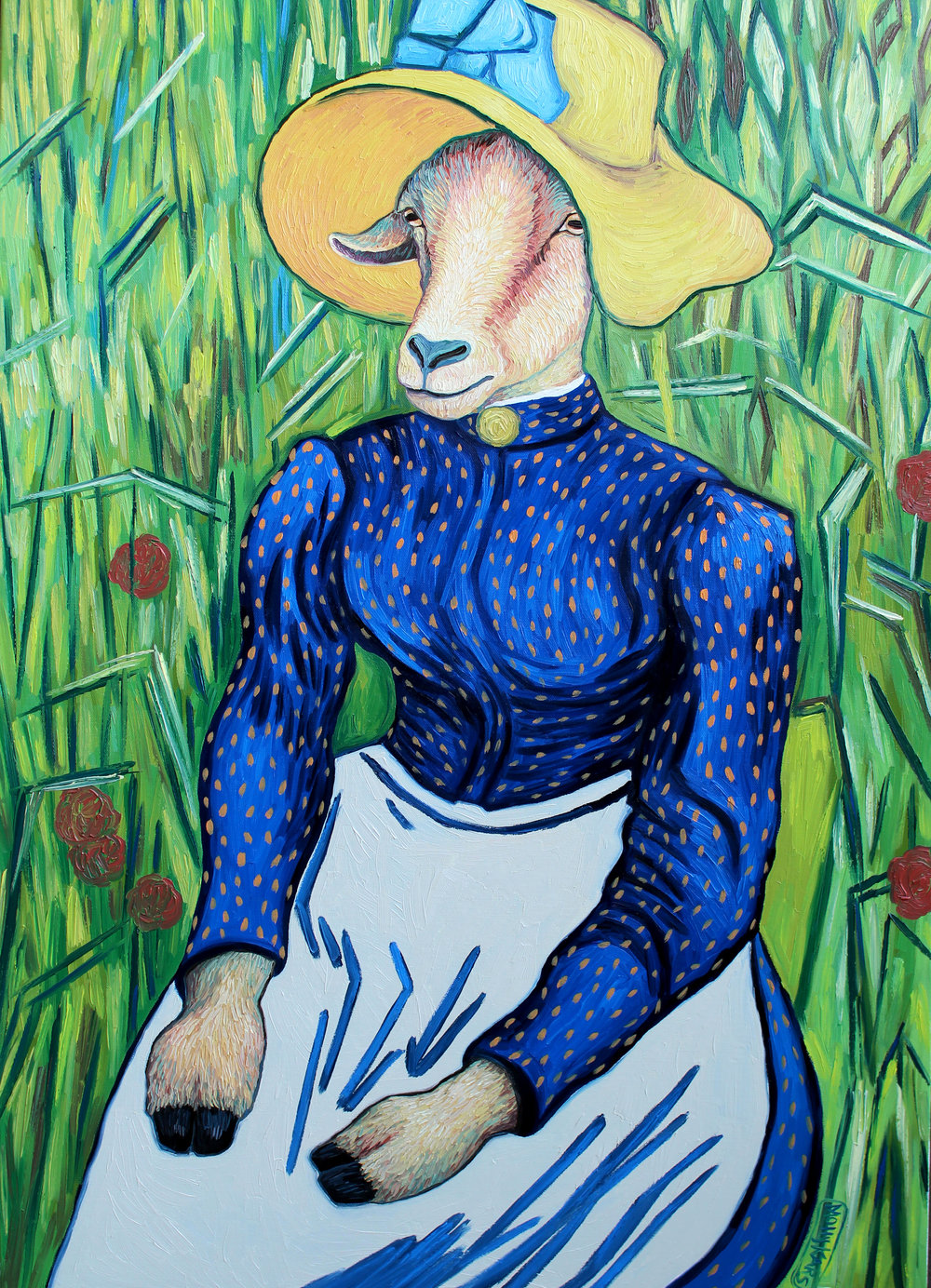 SOLD /// Young Peasant Goat with Straw Hat• 36 x 24 • oil on canvas • $2,200