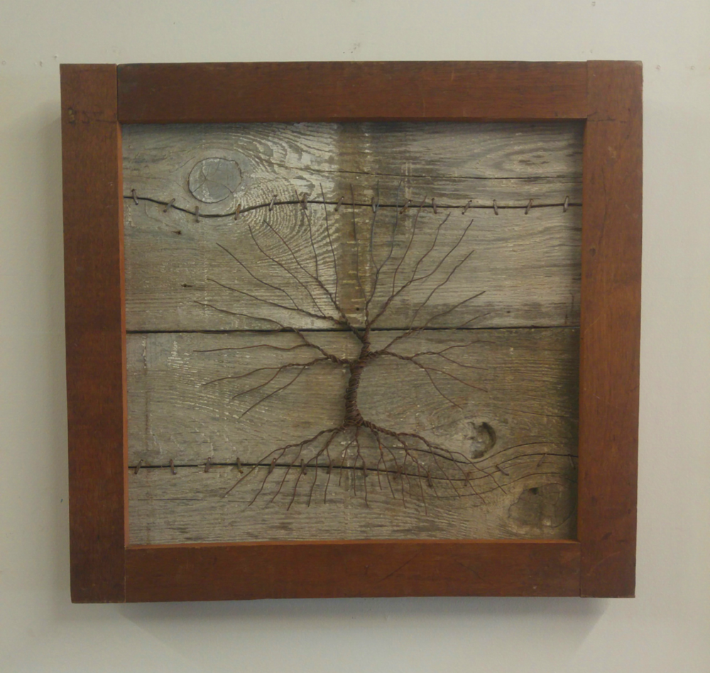 Stitched Together • 26 x 27.5 • barn wood, wire •  $595