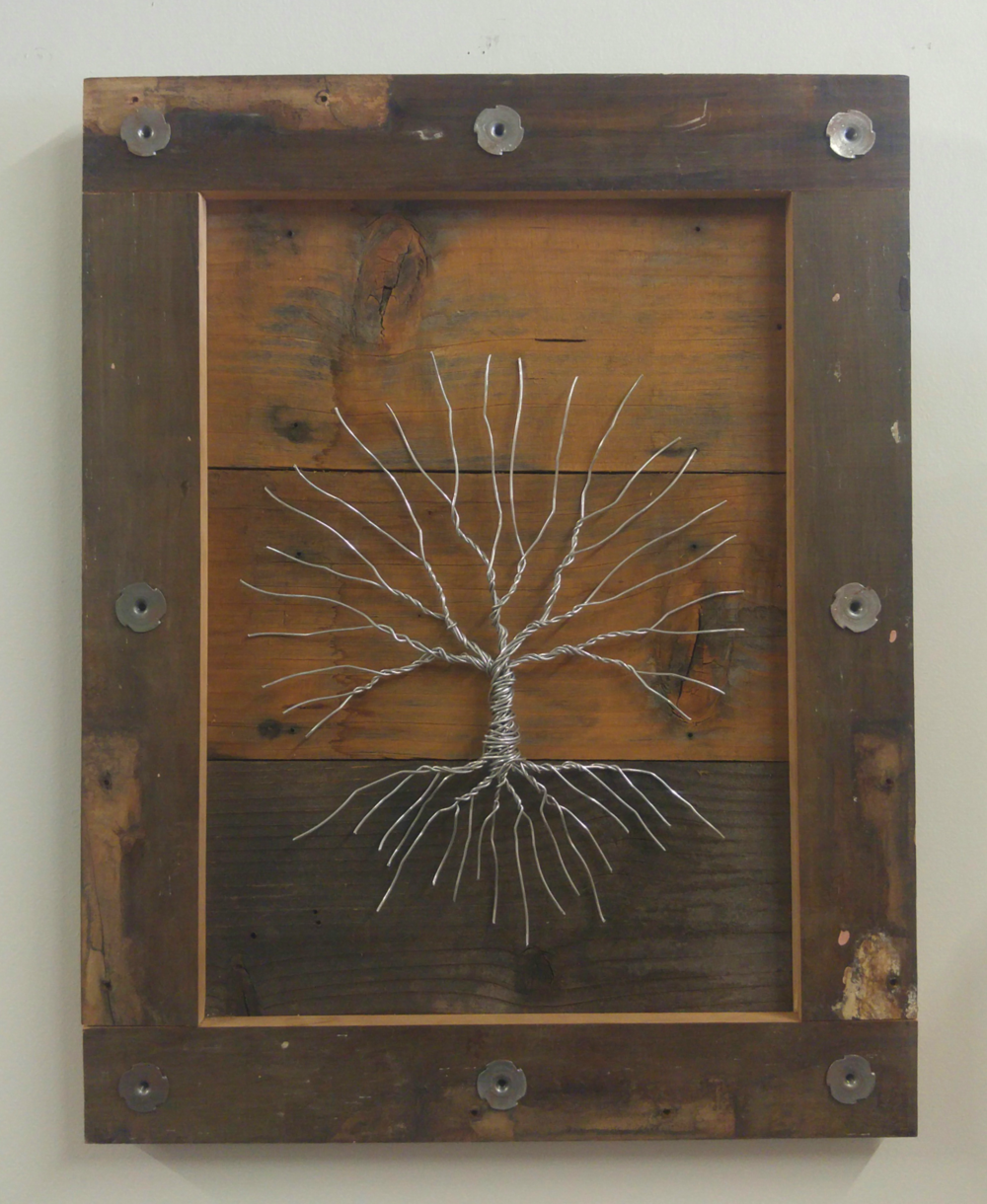 Tree 22   27 X 21 • barn wood, wire   $425