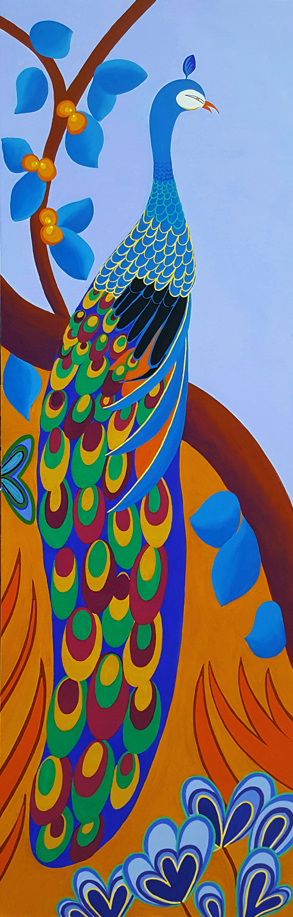 THE MAJESTIC PEACOCK • ˆ 72 X 24 • ACRYLIC •  $3,400