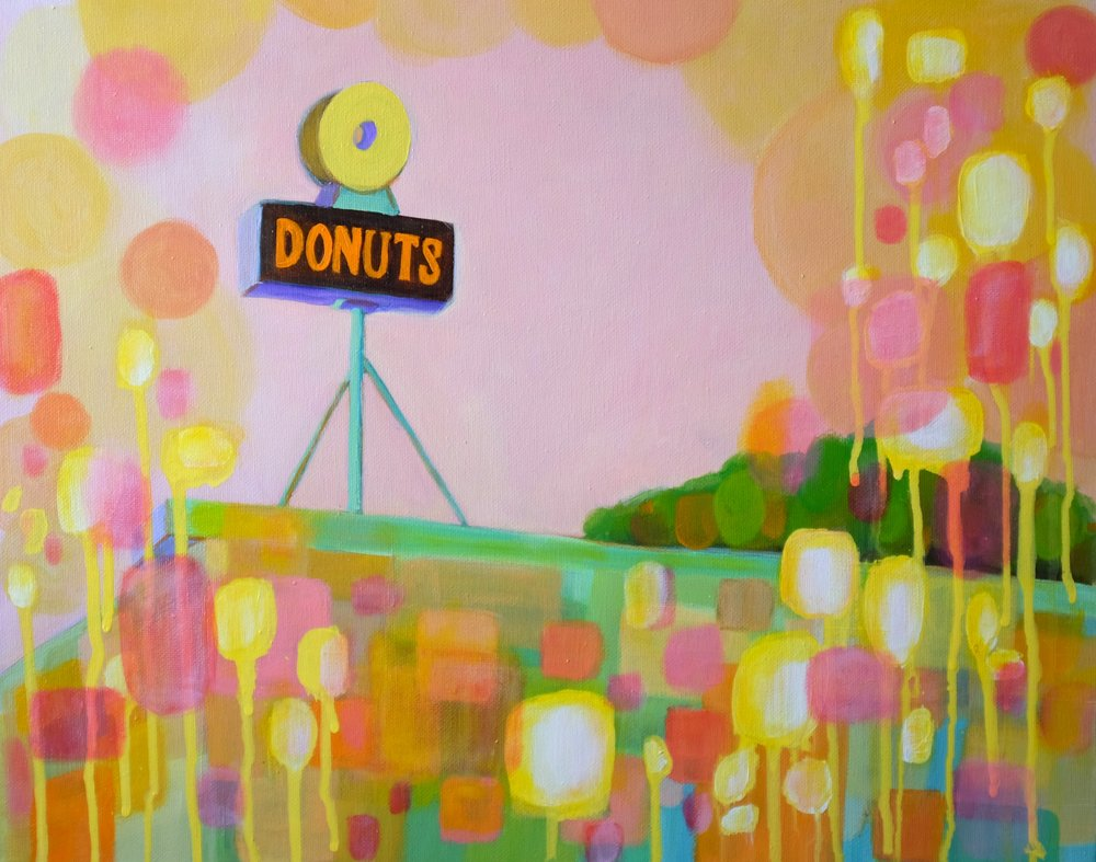 SOLD /// DONUT SHOP   16 X 20 • ACRYLIC