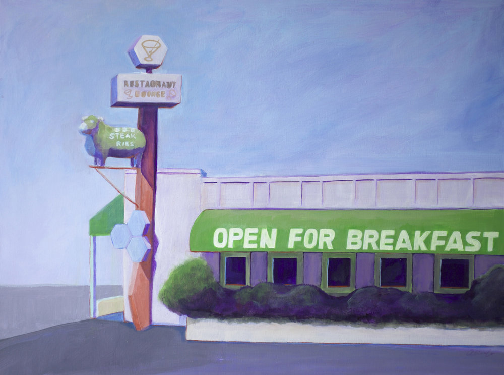 OPEN FOR BREAKFAST (SHERWOOD INN)   18 X 24 • ACRYLIC •  $385