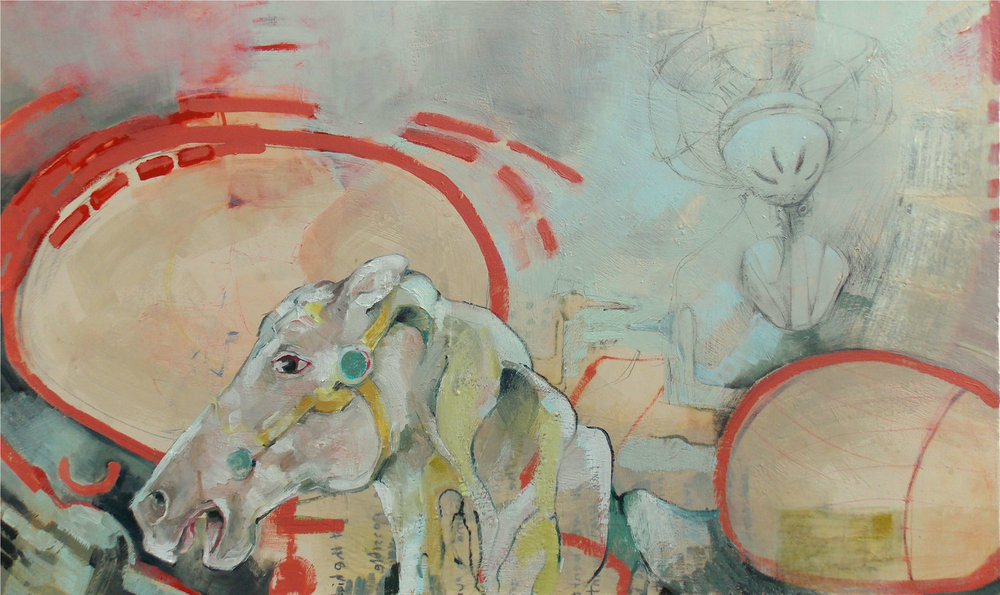 INTO THE PAST •  36 X 60 • OIL, ENCAUSTIC, MIXED MEDIA •  $2,500