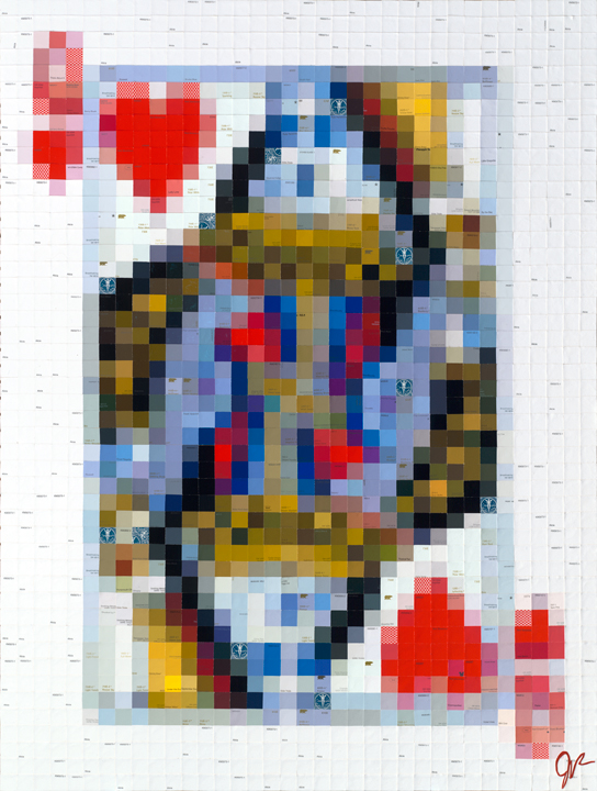 Queen of Hearts  • 48 X 36 • limited-edition print, texturized with gel medium