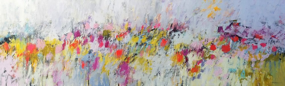 SOLD /// Heavenly Scented Fields • acrylics on canvas • 20 X 60