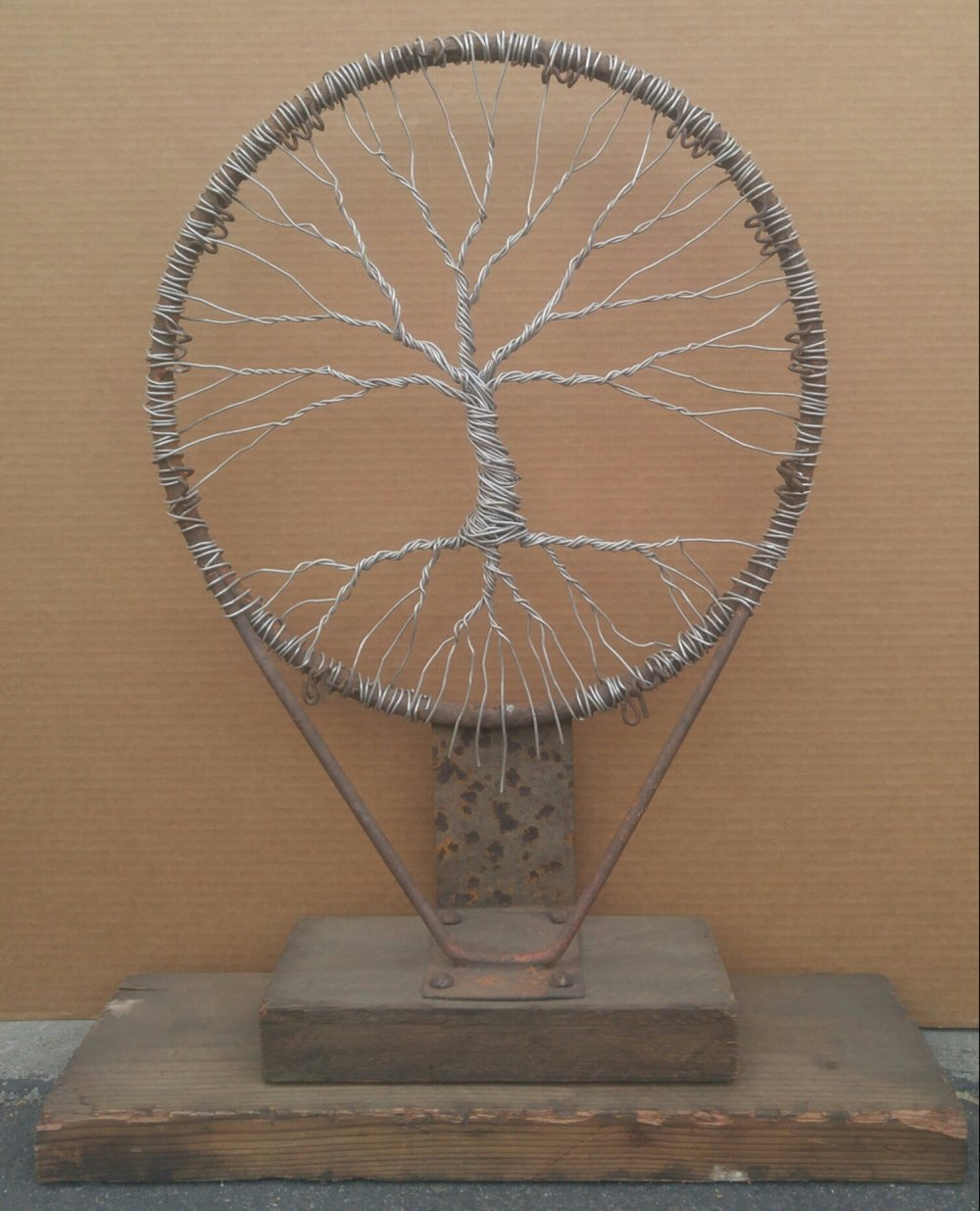 Hoop Dreams  22 X 30 X 8 • reclaimed barn wood, wire  $925