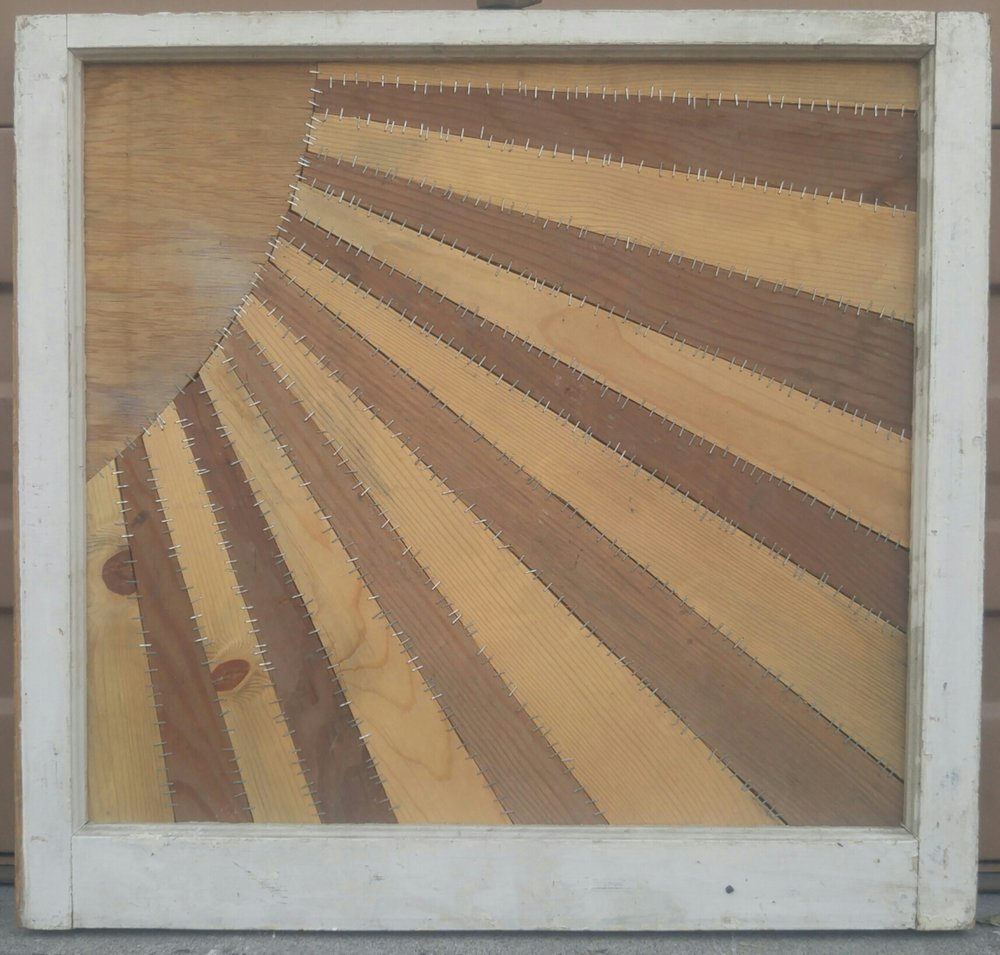 Sun is Shining   30 X 28 • reclaimed wood, staples   $495
