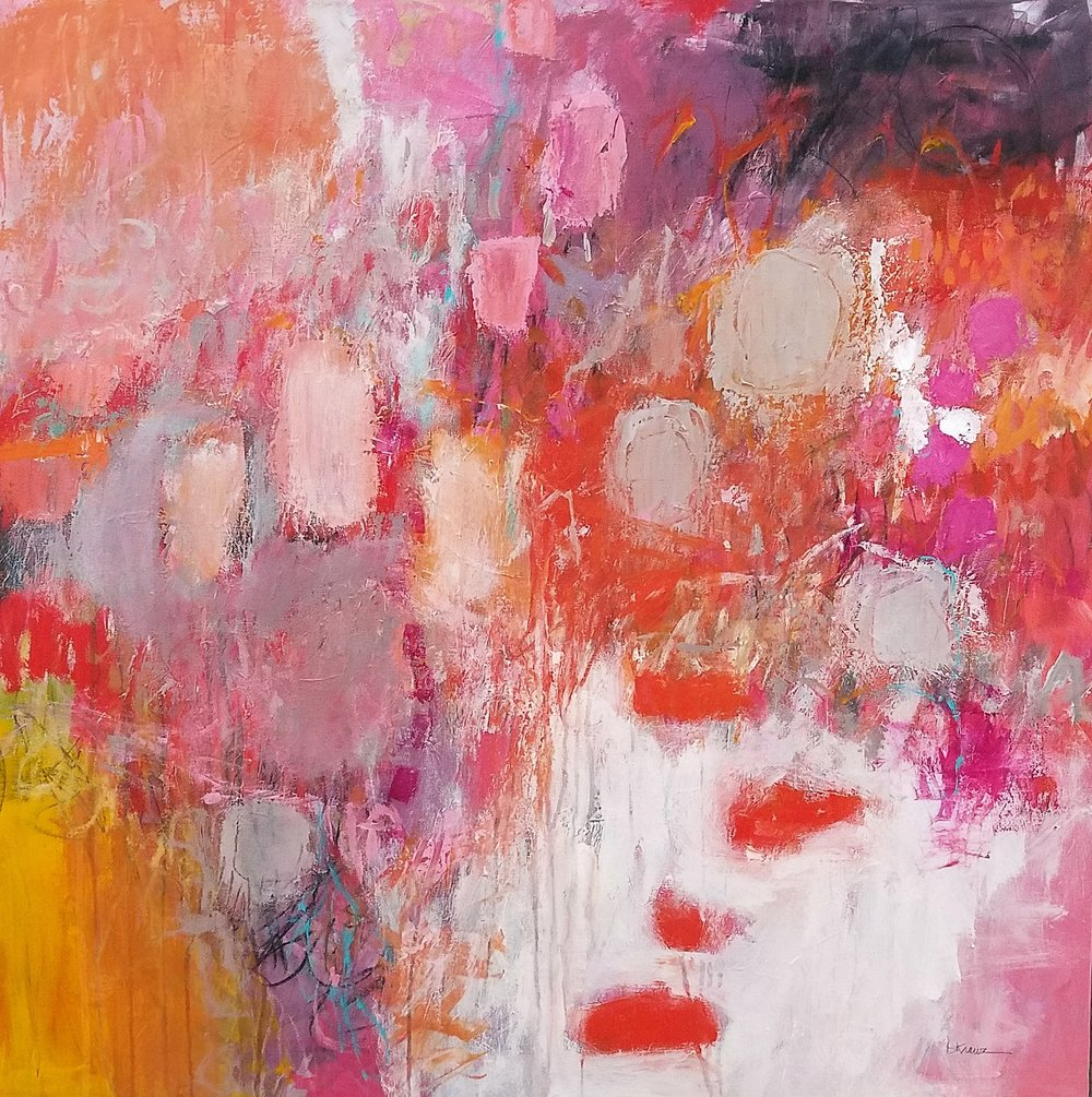 Passionately Pink   36 X 36 •acrylics on canvas  $1,325