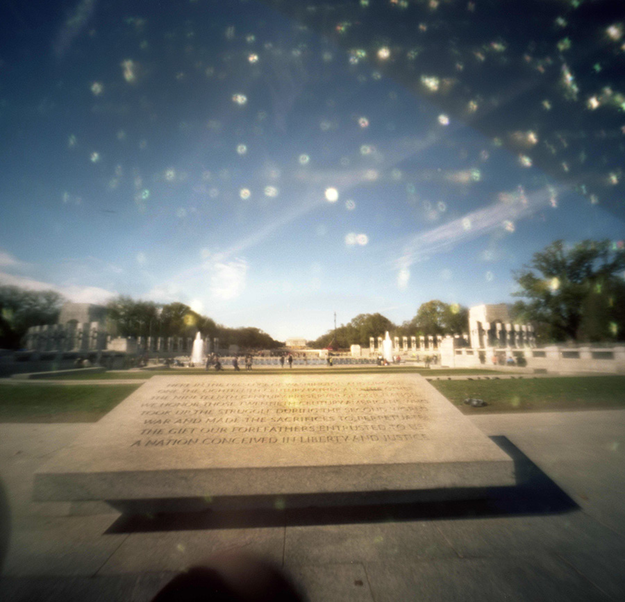 Looking towards the World War II Memorial. Pinhole brings a magic all on it's own.