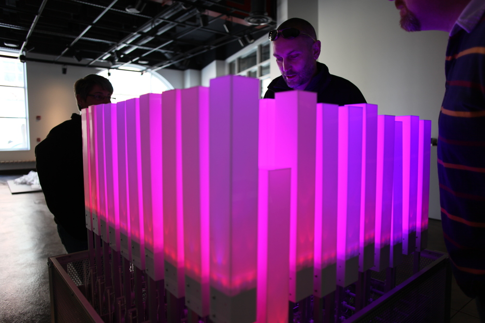 Cartwright with his piece, Kinetic Frequency