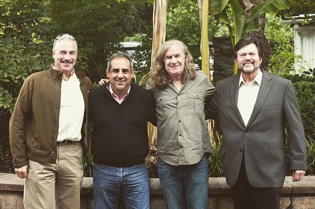 We managed to get all of our winemakers in the same place! From left to right, Tony Rynders of @panthercreekcellars Chris Madrigal of @madrigalfamilywinery Chris Upchurch of @delillecellars and Ed Sbragia of @sbragiafamilyvineyards #nationalwineday #winewednesday #winemaker #wine #winelover #cabernet #zinfandel #chardonnay #wineporn #wino #instawine #oregonwine #washingtonwine #drycreekvalley #napa