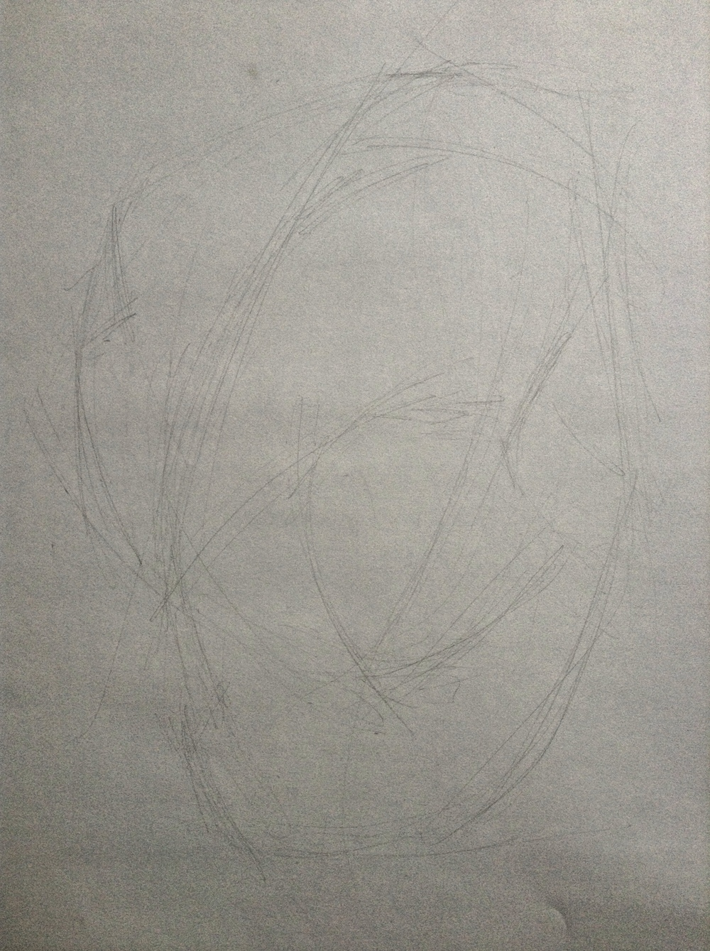 "This is about 10 minutes in--the drawing is 18"" or 20"" tall, and the lines are all extremely loose. At this point I'm looking for lines that pick up lots of different points, e.g. a line that runs along the peak of the hair, the side of the face, and the side of the neck. The ""gesture."""