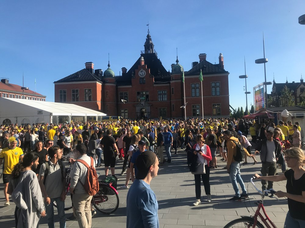 "Umeå city square JUST before Swedish ""football"" victory over Mexico!! It was a very ""lagom"" amount of enthusiasm;)"