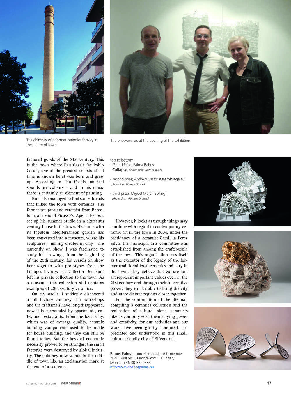 Ne  w Ceramic , September/October 2015 issue.