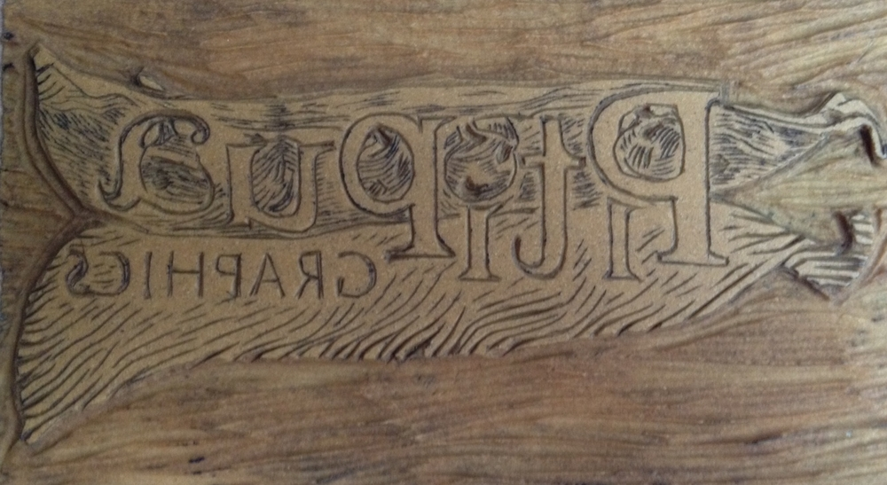 """Linoleum block after transferring the design and carving it with tools that badly needed sharpening.As my Grandma used to say: """"La prisa es hermana de la desgracia (Haste is the sister of ruin)""""."""