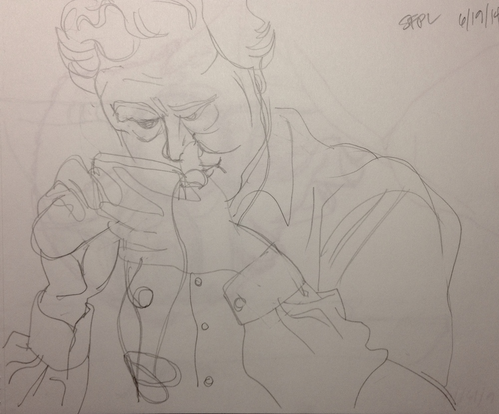 I love drawing at the public library. Most people don't notice or don't mind when you're drawing them.