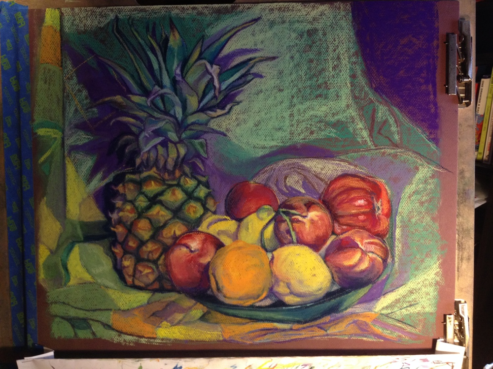 Almost finished! Fruits are done. Blocking of the towel colors begins...