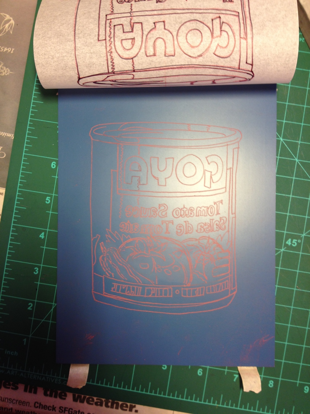 Design transferred.The drawing has been flipped so the text is carved backwards. If that's not done, it will not read right when printed.