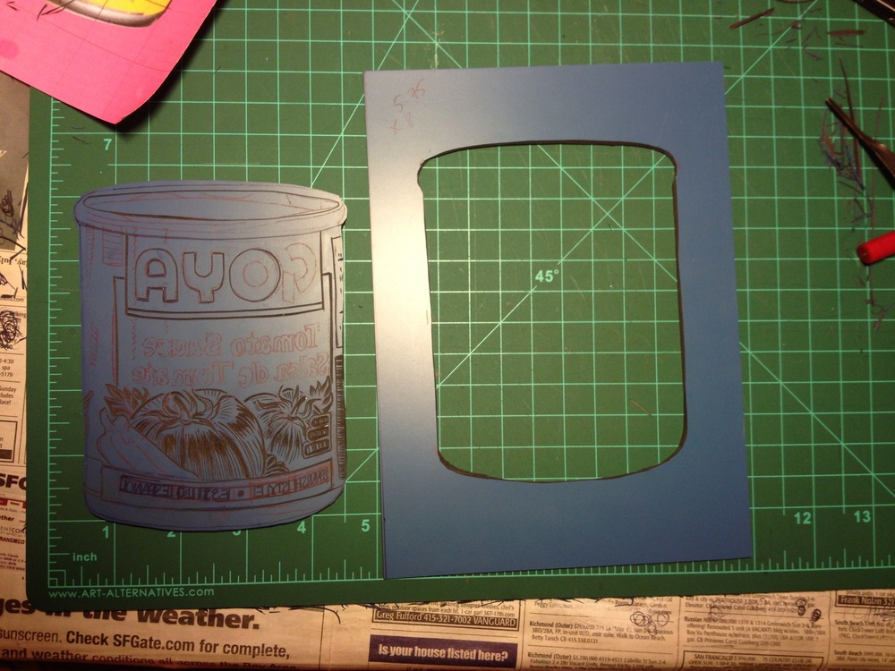 I want to make it a 2-color print, so i split the plate into parts for ease of inking.