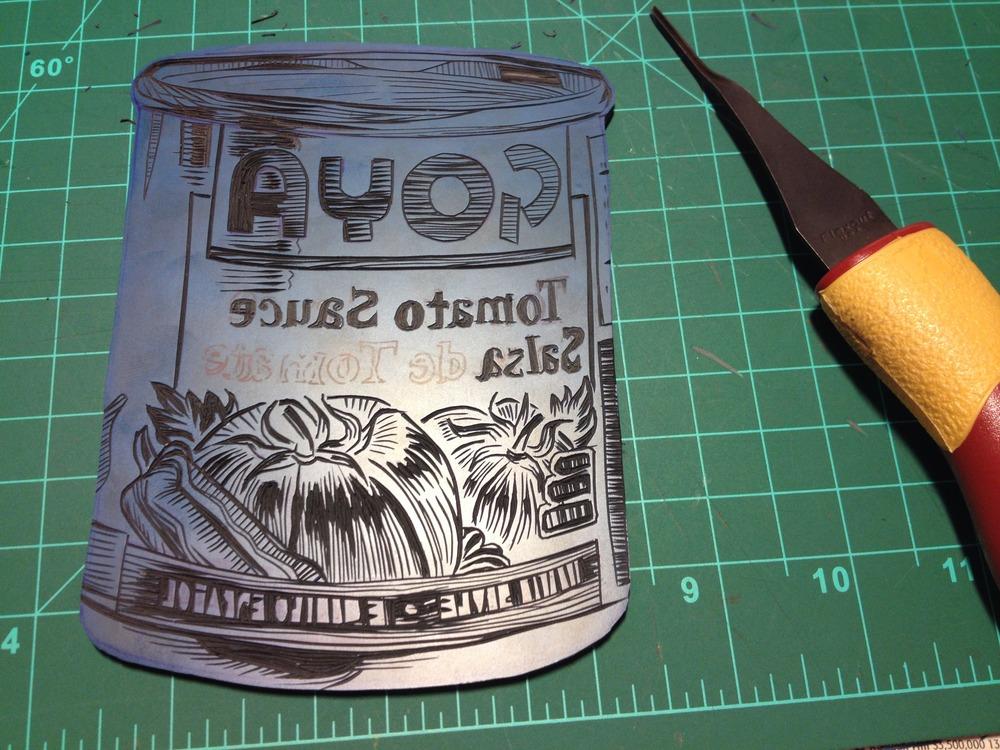 The fun part begins. Carving in progress.I am using gomuban, a linoleum alternative.