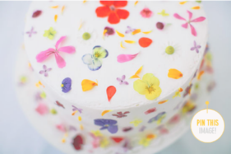 This cake with edible flowers on it from designlovefest.