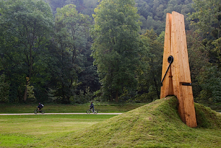 Giant clothespin sculpture by Mehmet Ali Uysal.