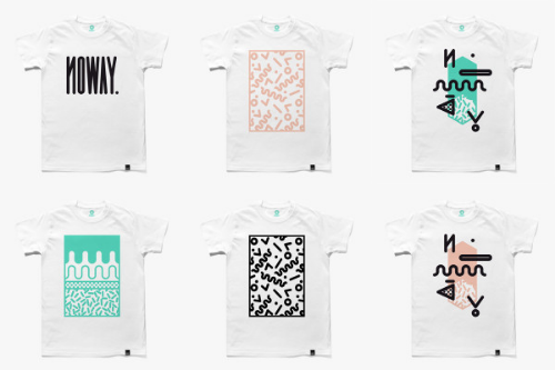 Hand-printed graphic tees from NOWAY apparel.