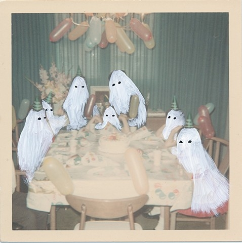angela deane's ghost photographs - little white ghosts drawn on old photographs.