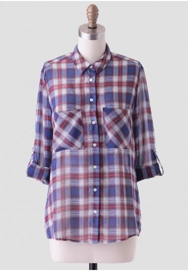 sunday brunch plaid blouse