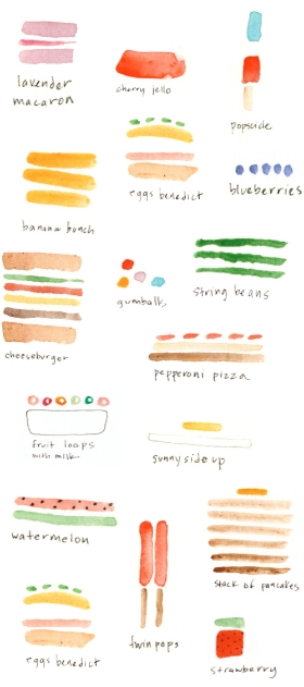 food illustrations from paper fashion, found on dear musketeer