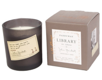 library candle collection from paddywax, scents designed for each author (pictured: john steinbeck)