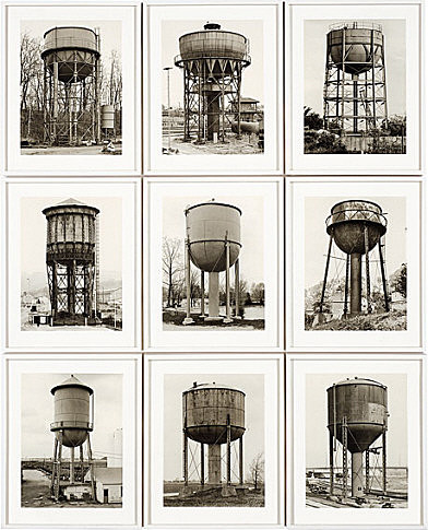 photographs  of european water towers by bernd and hilla becher circa 1957 (guggenheim online collection)