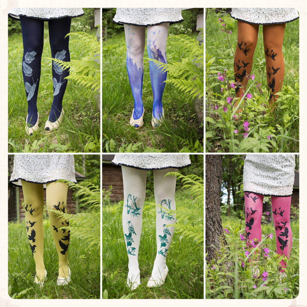 VILMURI by Vilma Wallinmaa's hand printed and upcycled tights and leggings are now available @ Paloni