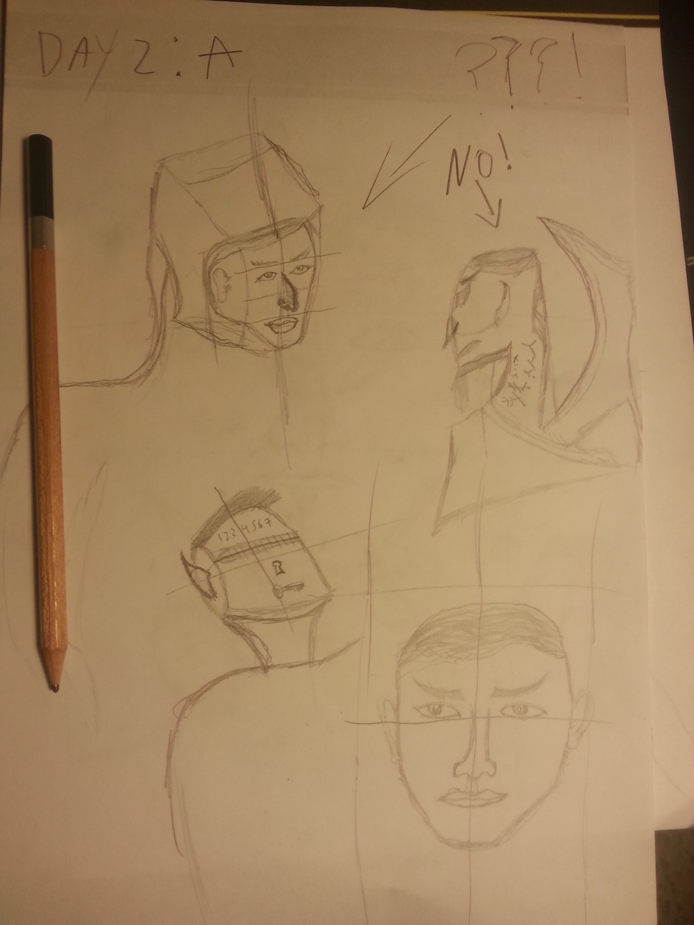"""Day 2: """"A"""". Analogies are still way off. Tried some different angles. Since there is no eraser involved I found a new way of dealing with mistakes. The word """"No"""" works wonders I think."""