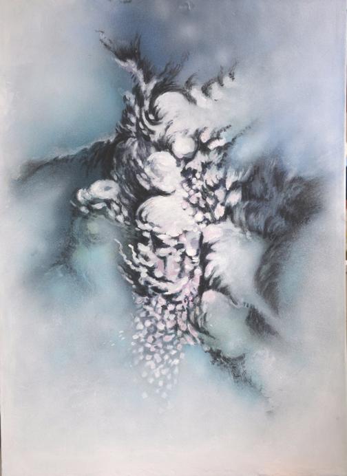 Cascade    acrylique et fusain sur toile marouflée  dimensions : 64 x 88 cm