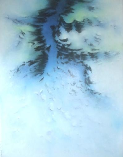 Désir    acrylique et fusain sur toile marouflée  dimensions : 64 x 88 cm