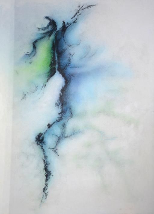 Faille    acrylique et fusain sur toile marouflée  dimensions : 64 x 88 cm