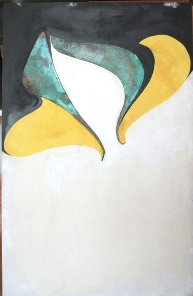 Au-delà du grand soleil     peinture 100 x 64 cm :   vinylique, glycéro, métal oxydé sur support rigide (Isorel)