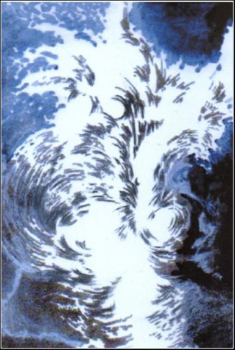 Désir de Vie 1    esquisse peinture acrylique, fusain et encre sur toile marouflée, 80 x 120 cm