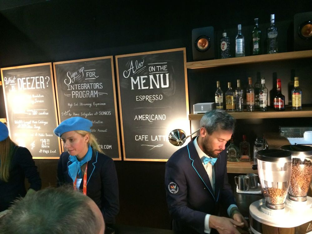 Getting an espresso at the DEEZER booth