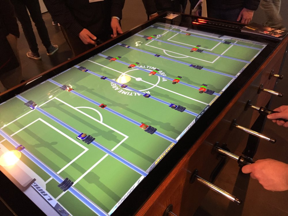A virtual foosball table from Christie