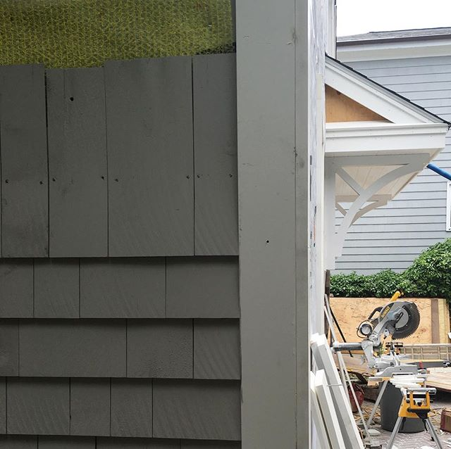 Shingle siding and bracket install #progresspic #designdetails