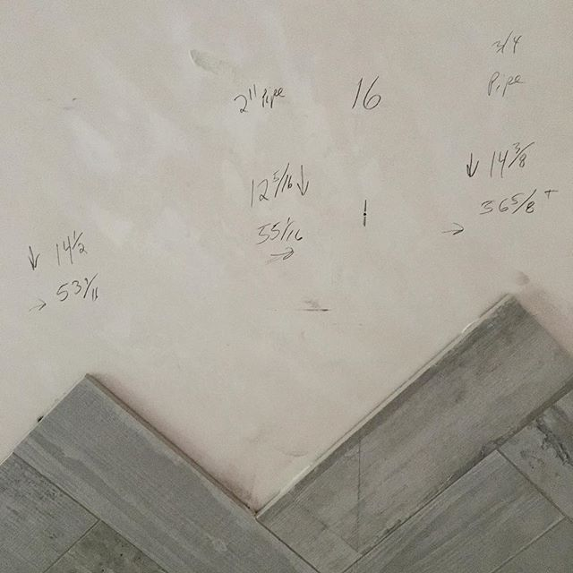 It clearly takes some math skills to install herringbone wall tile #fractionhell #bettertobethedesignerthantheinstaller