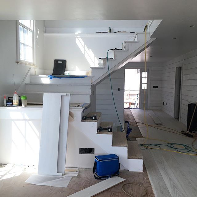 Stair tread and hardwood floor install #progresspic #harborfrontproject