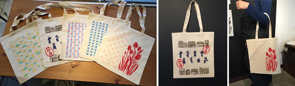 トートバッグプリント体験でできる一例です。Samples of Tote bag make in the session.