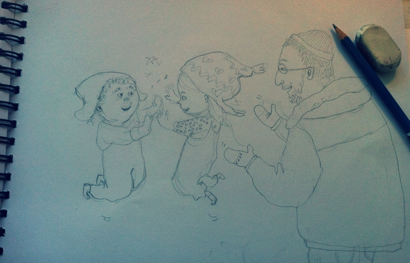 happy happy children high five'ing / children's book illustrations