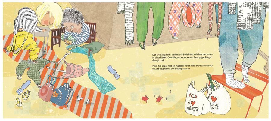 undressing rainy clothes / children's book illustrations