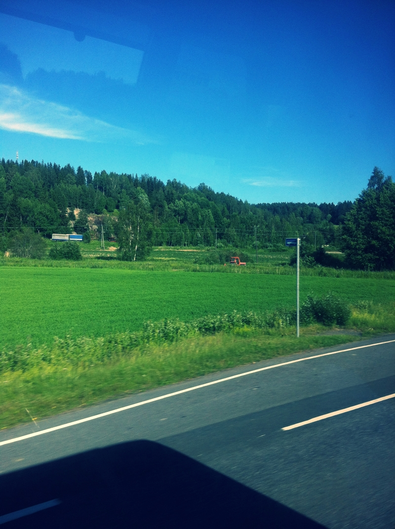 In the bus. Summer and the country side, ahhh!