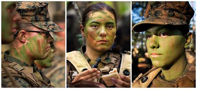 ITB Three :  Pfcs. Katie Gorz, Julia Carroll, Christina Fuentes Montenegro have become the first entry-level enlisted women to complete Marine Corps infantry training (2013).