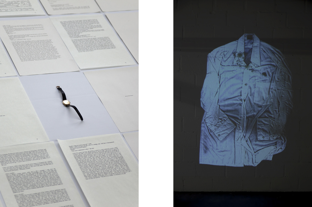 Story of Doubt, detail from tableau, text and object + photographic projection of Grandfather's shirt